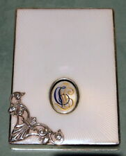 "Faberge 88 Silver Card Case & White Enamel Maker:""Ah"" 141.4 Grams ,Monogram:Gtd"