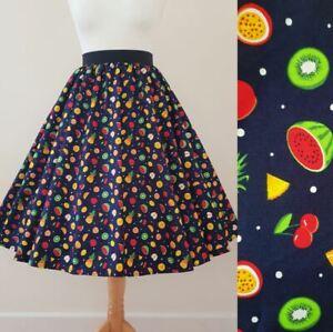 1950s Circle Skirt Tutti Frutti - Fruits Pineapple Lemons Cherry Rockabilly