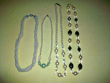 4 CLEAR GLASS CRYSTAL NECKLACES FAUX PEARLS BEADS RHINESTONE VTG COSTUME JEWELRY