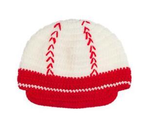 NEW Baseball Boys White Crochet Cap Hat 1-4 Years