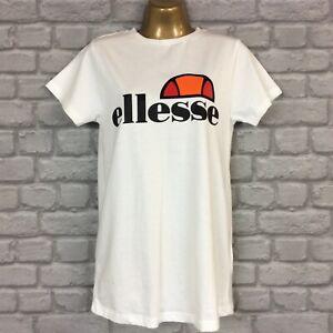 ELLESSE LADIES WHITE ALBANY MEDIUM LOGO COTTON T-SHIRT TOP TEE VARIOUS SIZES A