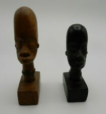 """Two Vintage African Kenya Wood Carved Head Busts 4"""" and 5"""" Tall"""