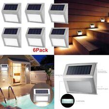 6X Lampada luce faretto esterno energia solare 3 LED in acciaio inox da giardino