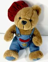 Vintage Brown Plush Teddy Bear Plush W/ Beret & Overalls Heart Shaped Nose 11""