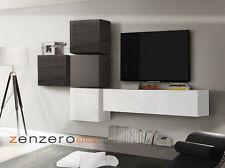 Parete attrezzata moderna di design, Wenghè, Peltro e Bianco Lucido - 327x169 cm