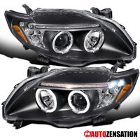 For 2009-2010 Toyota Corolla Black Halo Rims Projector Headlights Lamps w/ LED