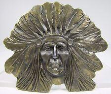 Vintage Indian Chief Belt Buckle detailed feather headdress ornate design