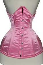 FULL Bust heavy duty double STEEL Boned waist Training satin corset bustino