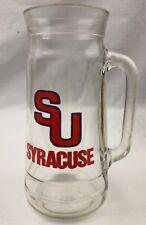 "Vtg Syracuse University Orange Glass Beer Mug Stein Fisher Nuts Peanuts 7"""