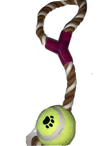 Quality Large Throw Toss Fetch Dog Rope Toy With Tennis Ball Brown/White