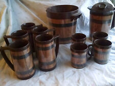 Mid Century Thermo Serv Faux Wood Barrel 12 Pc Lot Ice Bucket +Pitcher +Lid Mugs
