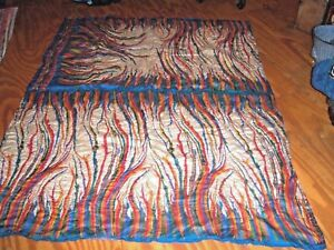 "100% SILK Handmade QUILT 67 x 77"" Full Queen Vintage Sari Blue Multi Swirls"