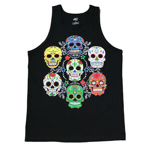 Colorful Sugar Skulls Graphic  Men's Tank Top Shirt Black
