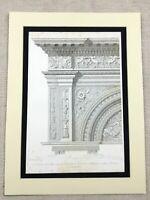 1857  Architectural Engraving Print Ornamental Stone Masonry Verona Italy