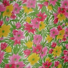 """Vintage Fabric 36"""" W Pink Floral Print Cotton, BTY"""