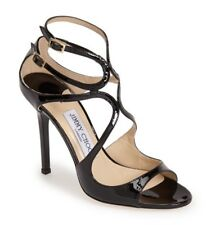 JIMMY CHOO Patent Leather Lang Strappy Sandal Black 39.5 NEW
