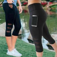 Women's High Waist Yoga Pants Capri Mesh Sports Fitness Gym Jogging Leggings