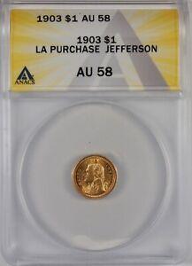 1903 $1 Jefferson LA Purchase Gold Commemorative Dollar Coin