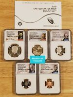 2019 S 5 Coin Clad Proof Set, NGC PF 70 Kennedy Half, Dime, Nickel, Cent,Dollar
