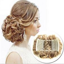 Hot Wave Curly Combs Clip In Hair Bun Chignon Piece Updo Cover Hair Extension