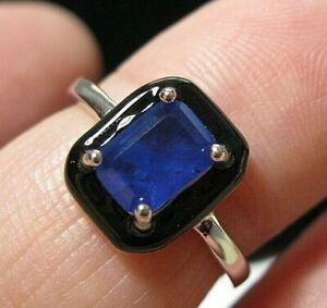 Geometrical Art Deco Style Sterling Silver Sapphire Crystal Enamel RING Size M 6