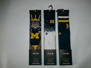 STANCE 3 Pair University of Michigan WOLVERINES Crew SOCKS Mens LARGE 9 - 12 NEW