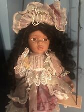 """Cathay Collection Porcelain 21"""" Doll 1-5000 Brown Skin Young Girl"""