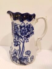 Antique Pitcher or Large Creamer Flow Blue Burslem England Porcelain Poppies ?