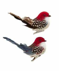 Brown & Gray Birds with Red Heads Clip-On Ornaments, Set of 2, by Kurt Adler