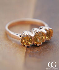 Natural Topaz Engagement Three-Stone Fine Rings