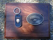 U.S. ARMY RANGER SNIPER PUNISHER KEY RING AND BRASS PLATED BELT BUCKLE