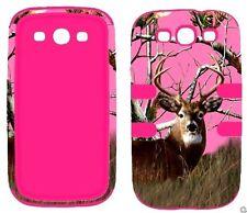 Hybrid Pk  Pink Camo Deer Conifer  Samsung Galaxy S3 , III ,  i9300 Cover Case
