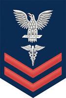 "Hospital Corpsman ( HM ) 2nd Class E-5 Red Rank 5.5"" Sticker / Decal"