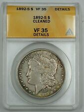 1892-S Morgan Silver Dollar, ANACS VF-35, Details, Cleaned, Very Fine Coin