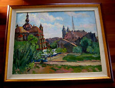 LARGE ANTIQUE RUSSIAN SOVIET OIL PAINTING LANDSCAPE FILIPCHENKO 1968 CITYSCAPE