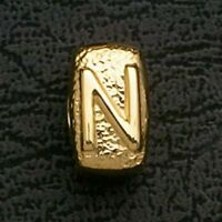 European Beads Charms Initial N Gold Plated Stainless Steel Charm Bracelet Bead