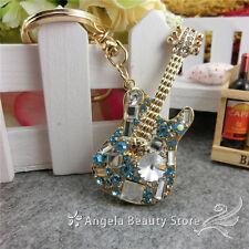 Lovely Electric Guitar Crystal Keychain Keyring Handbag Accessory Charm Pendant
