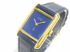 Auth Cartier Must de Cartier Tank Navy Gold Women's Wrist Watch 128988