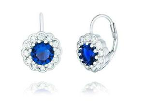 Platinum Sterling Silver Blue Sapphire Halo Design Round Cut Lever Back Earrings