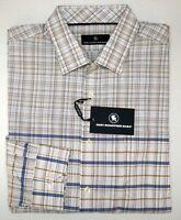 NWT $98 Hart Schaffner Marx Blue Tan Plaid Shirt Mens M L XL Long Sleeve White