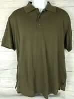 Hugo Boss Mens XL Polo Rugby Brown Pima Cotton Short Sleeve Shirt