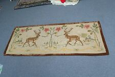"Antique Berlin Woolwork Needlepoint Tapestry Deer Scene 25"" x 70"" Embroidery"