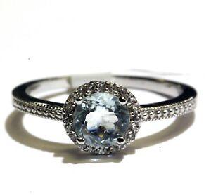 New 925 Sterling Silver aquamarine white topaz halo womens ring 2.3g ladies