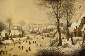 Pieter Bruegel the Elder Winter landscape with skaters Giclee Canvas Print LARGE