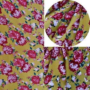 Printed,Viscose,Dress Fabric, Skirts Blouse, New Design Mustard Red Roses