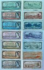 1954 Canadian Bank Notes $1 $2 $5 $10 $20 $50 $100 Full Set