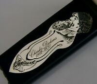 ENGLISH STERLING SILVER BOOKMARK CHARLES DICKENS c1970 CASED