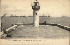 Cherbourg France Jetee et la Rade Lighthouse c1910 Postcard
