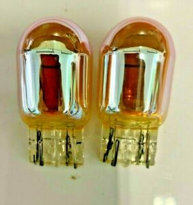 2x- 7444A Amber Chrome Signal Lamps!   Like Sylvania SilverStar
