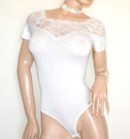 BODY dentelle brodé blanc strass chemise manches courtes femme Jersey shirt G48